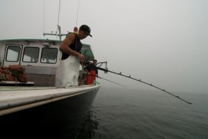 Captain Matt Trundy  and stern man Lucas Trundy jig fishing for ground fish, aboard the Savannah Jane, Stonington, ME